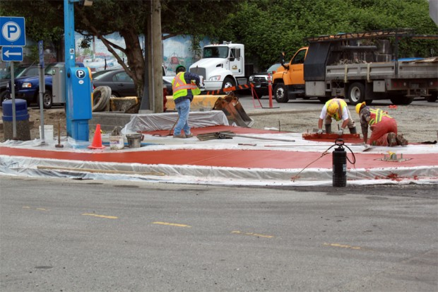 Vancouver Ready Mix Pours Brick Red Concrete for the City of White Rock