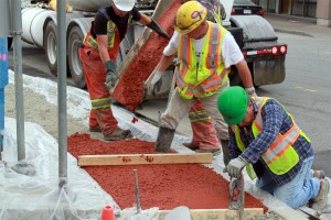 Brick Red concrete is used for medians and pedestrian walkways throughout White Rock.